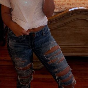 AE RIPPED JEGGING ANKLE SIZE 2 ACID WASH